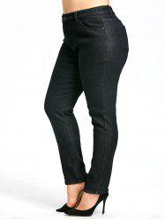 Zipper Plus Size  Fleece Lined Jeans -