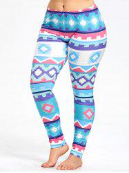 Fresh Plus Size Geometric Pattern Sports Leggings -