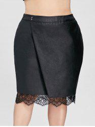 Plus Size Oblique Lace Trim Faux Leather Skirt -