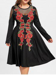 Plus Size Fishnet Embroidery Swing Dress
