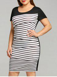 Short Sleeve Plus Size Stripe Tee Dress -