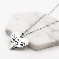 Heart Engraved Love Claw Footprint Necklace -