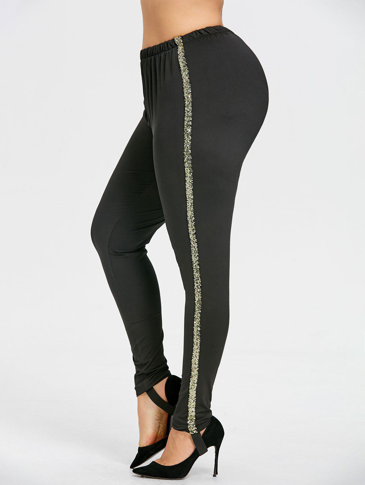 Sale Plus Size Sequins Sides Stirrup Leggings