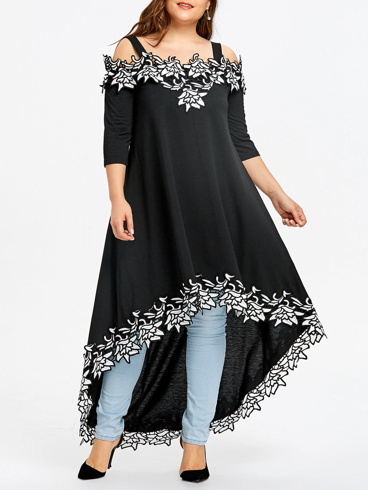 Fancy Plus Size Appliqued Open Shoulder Tee Dress