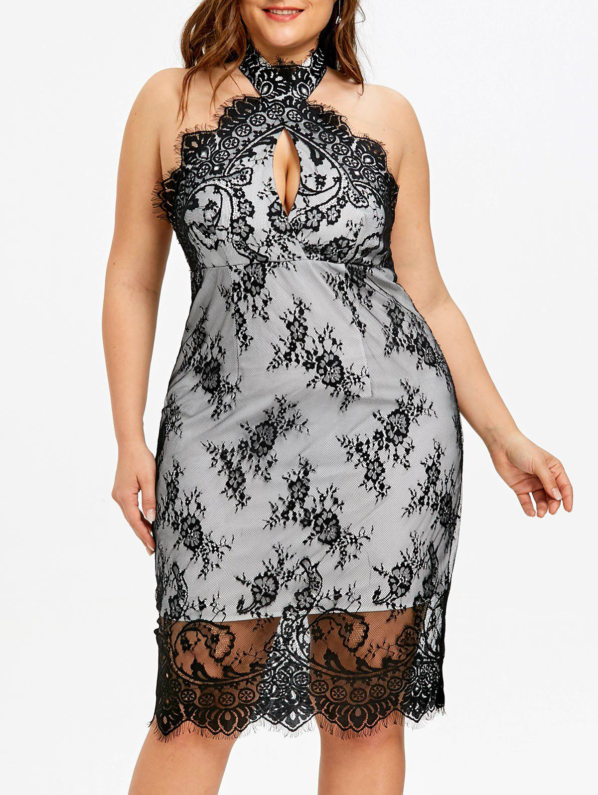 Discount Plus Size Backless Cocktail Lace Overlay Dress