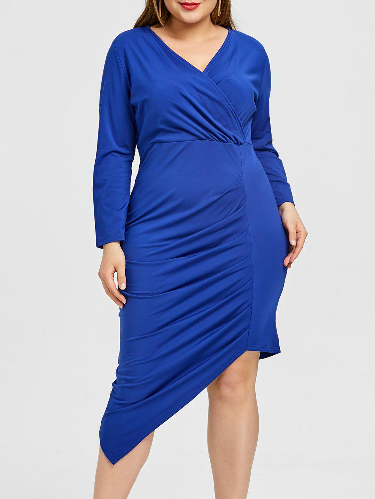 Chic Surplice Asymmetrical Ruched Plus Size Dress