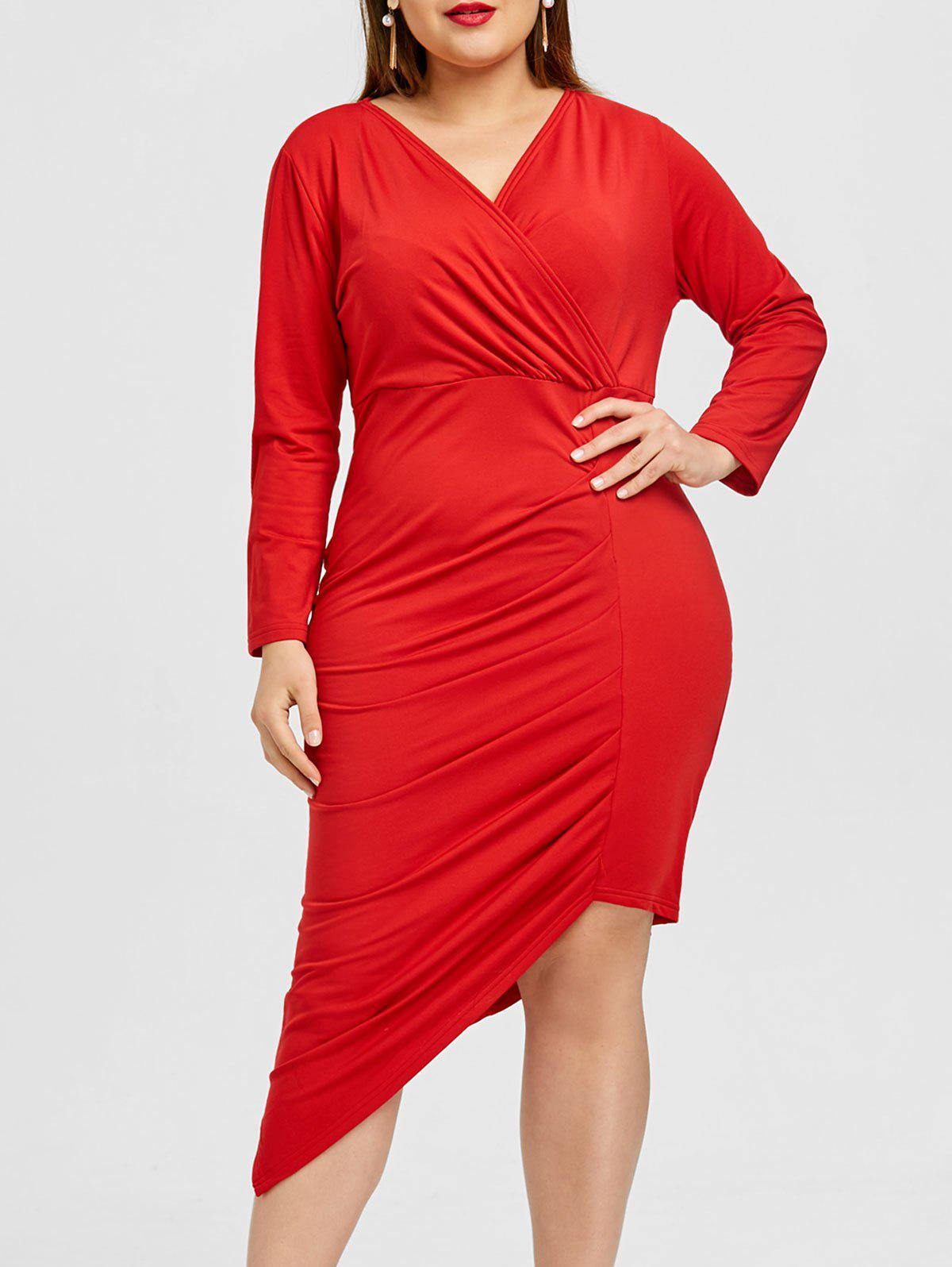 Outfits Surplice Asymmetrical Ruched Plus Size Dress