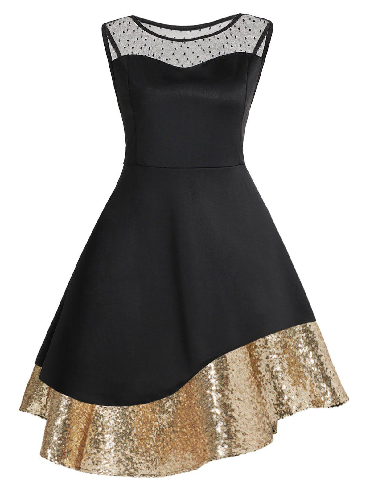 Trendy Plus Size Sequins Mesh Panel Cocktail Dress
