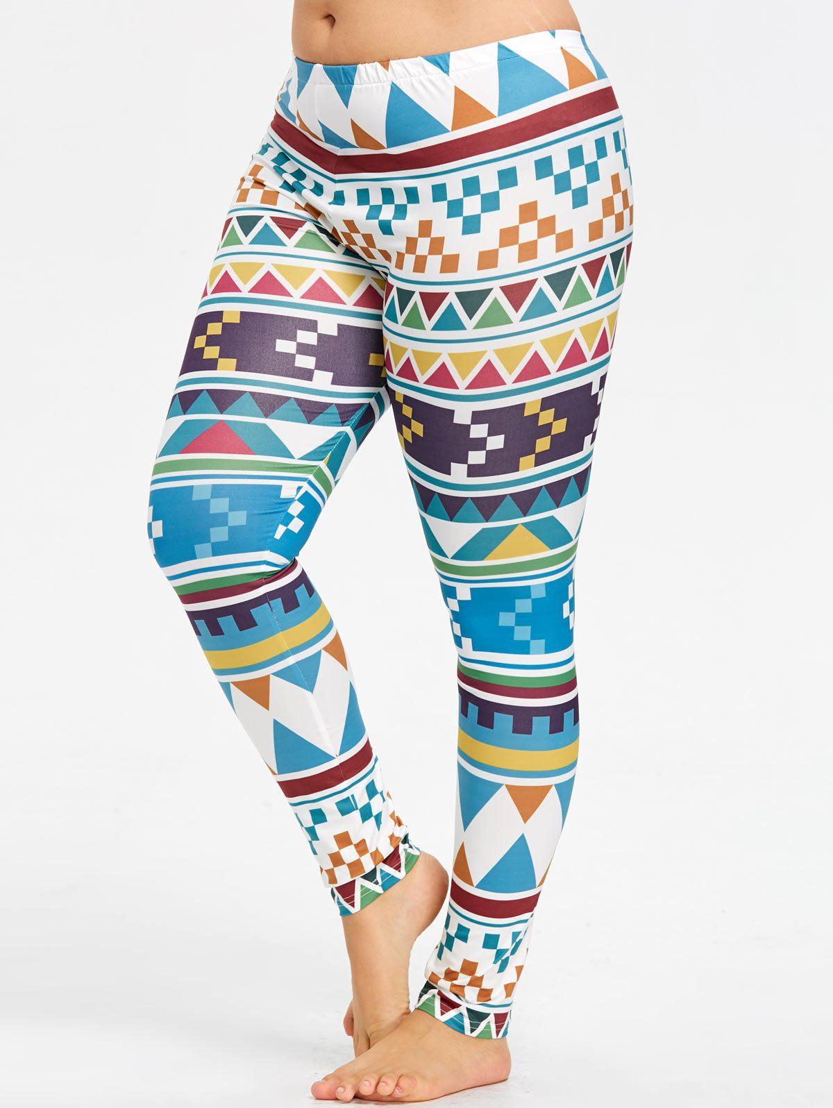 Affordable Plus Size Geometric Pattern Workout Tights