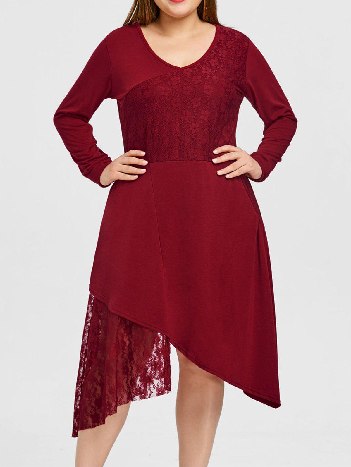 Trendy Plus Size Lace Trim Long Sleeve Dress