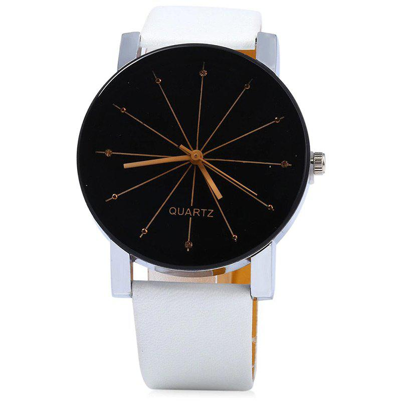 Affordable Ray Face Faux Leather Strap Watch