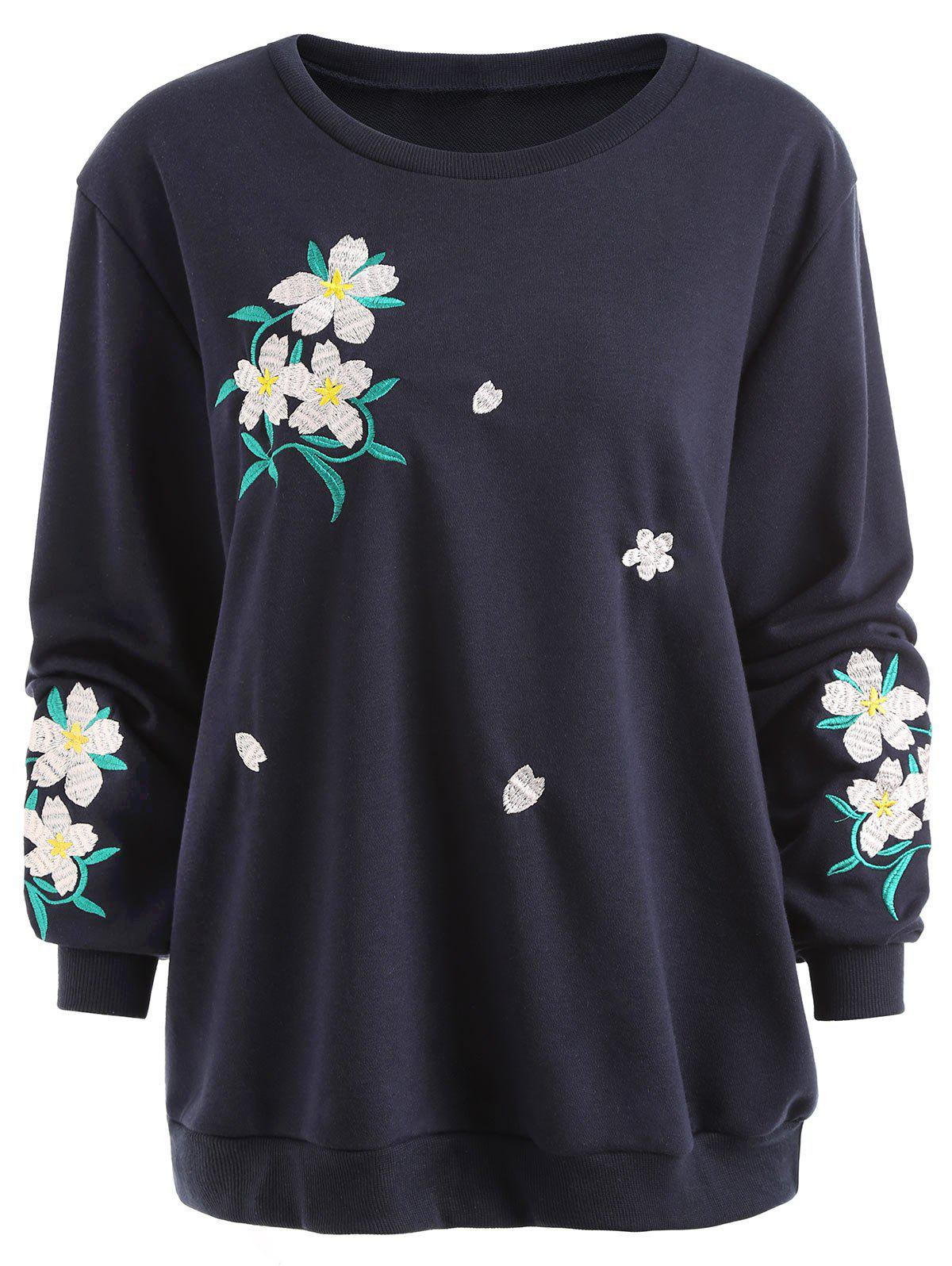 Online Floral Embroidered Plus Size Sweatshirt