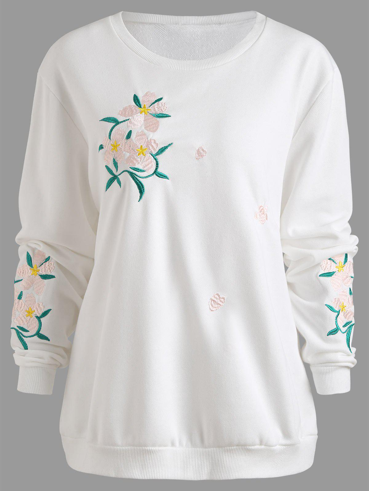 Latest Floral Embroidered Plus Size Sweatshirt