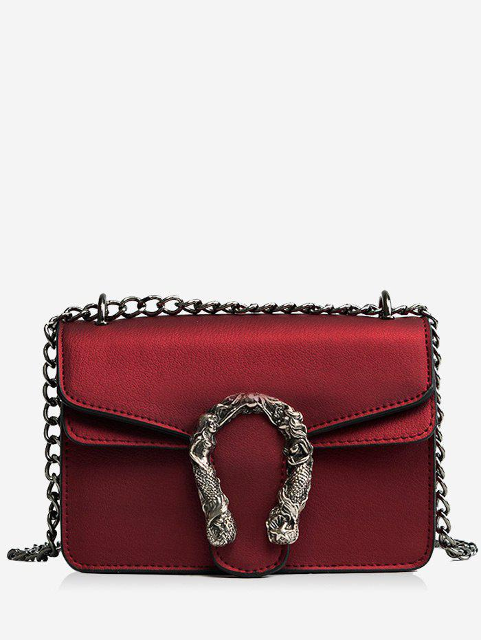 Chic Flap Chain Metal Embellished Crossbody Bag