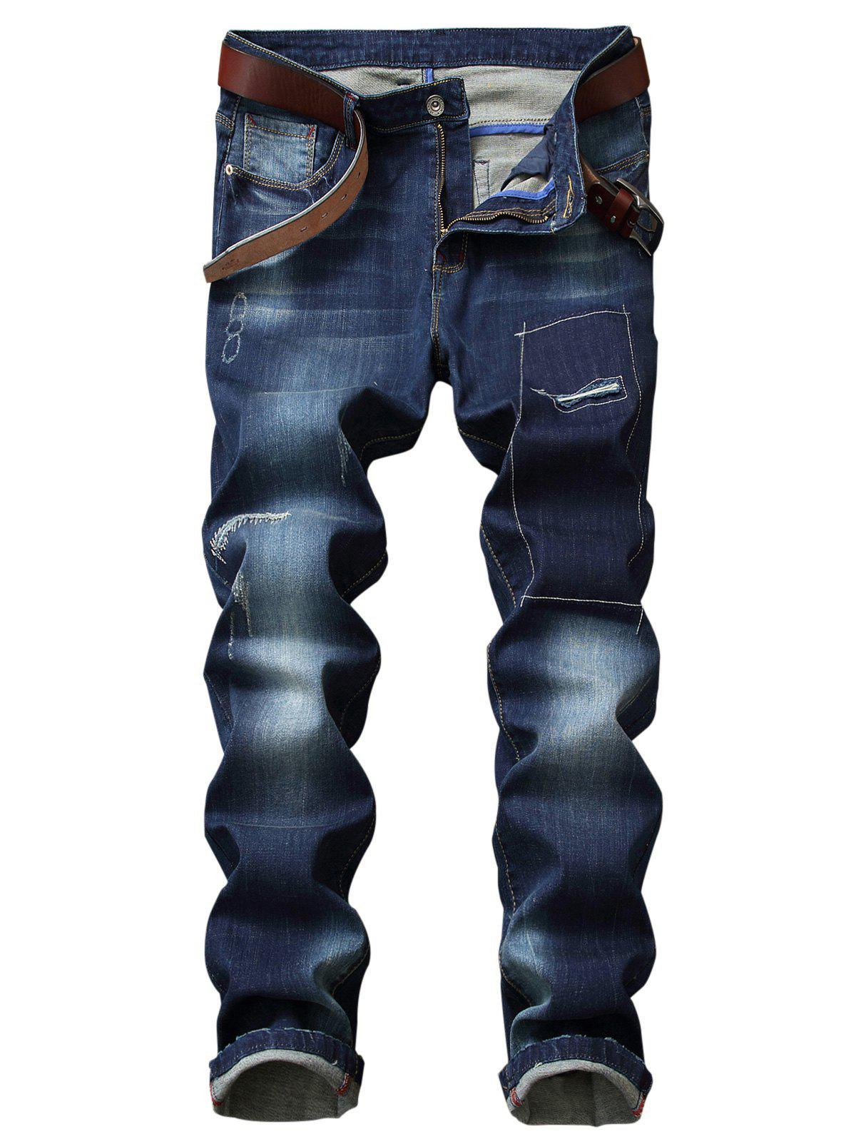 Trendy Faded Wash Patches Detail Straight Leg Jeans