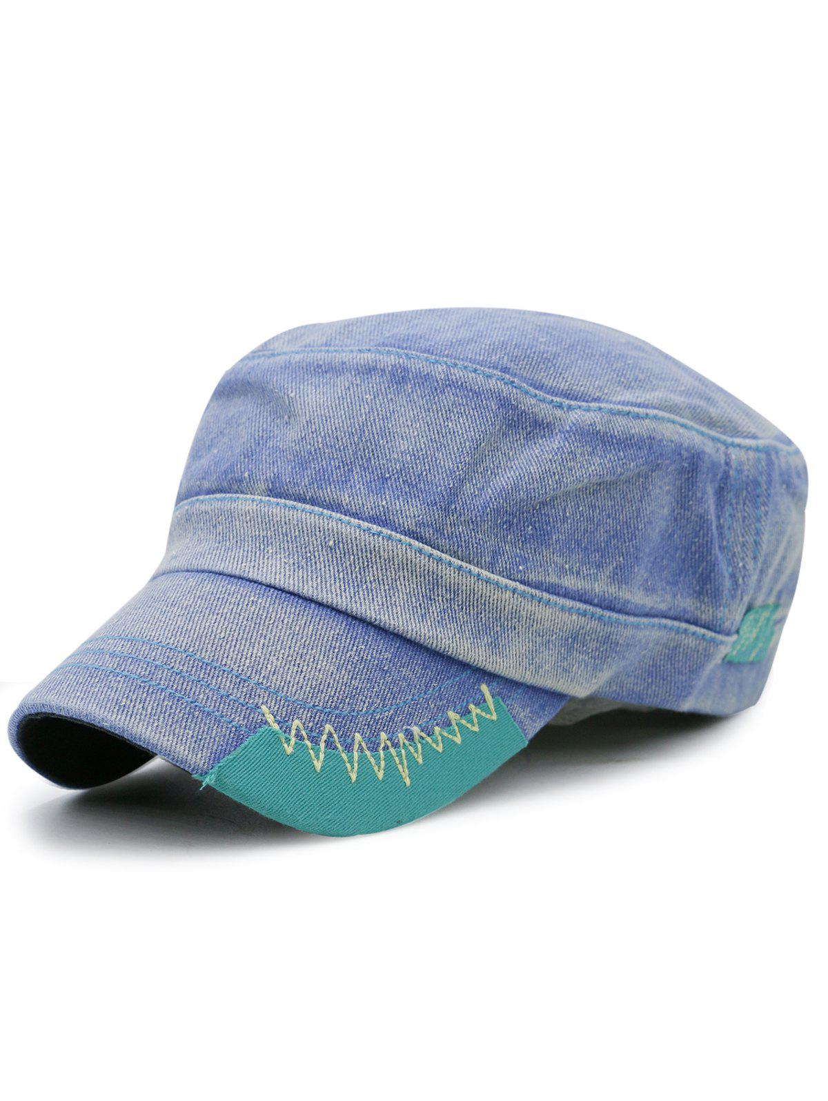 Fancy Outdoor Line Embroidery Adjustable Denim Military Hat