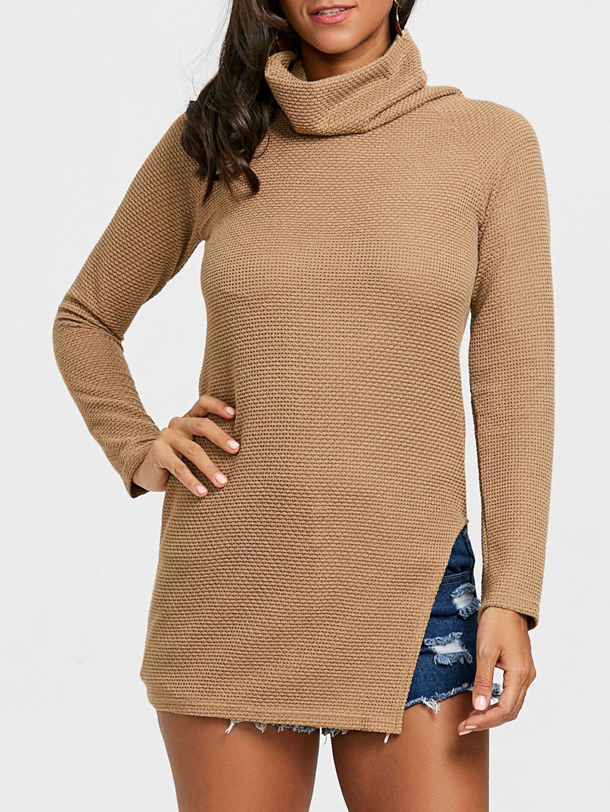 Affordable Cowl Neck Side Slit Tunic Sweater