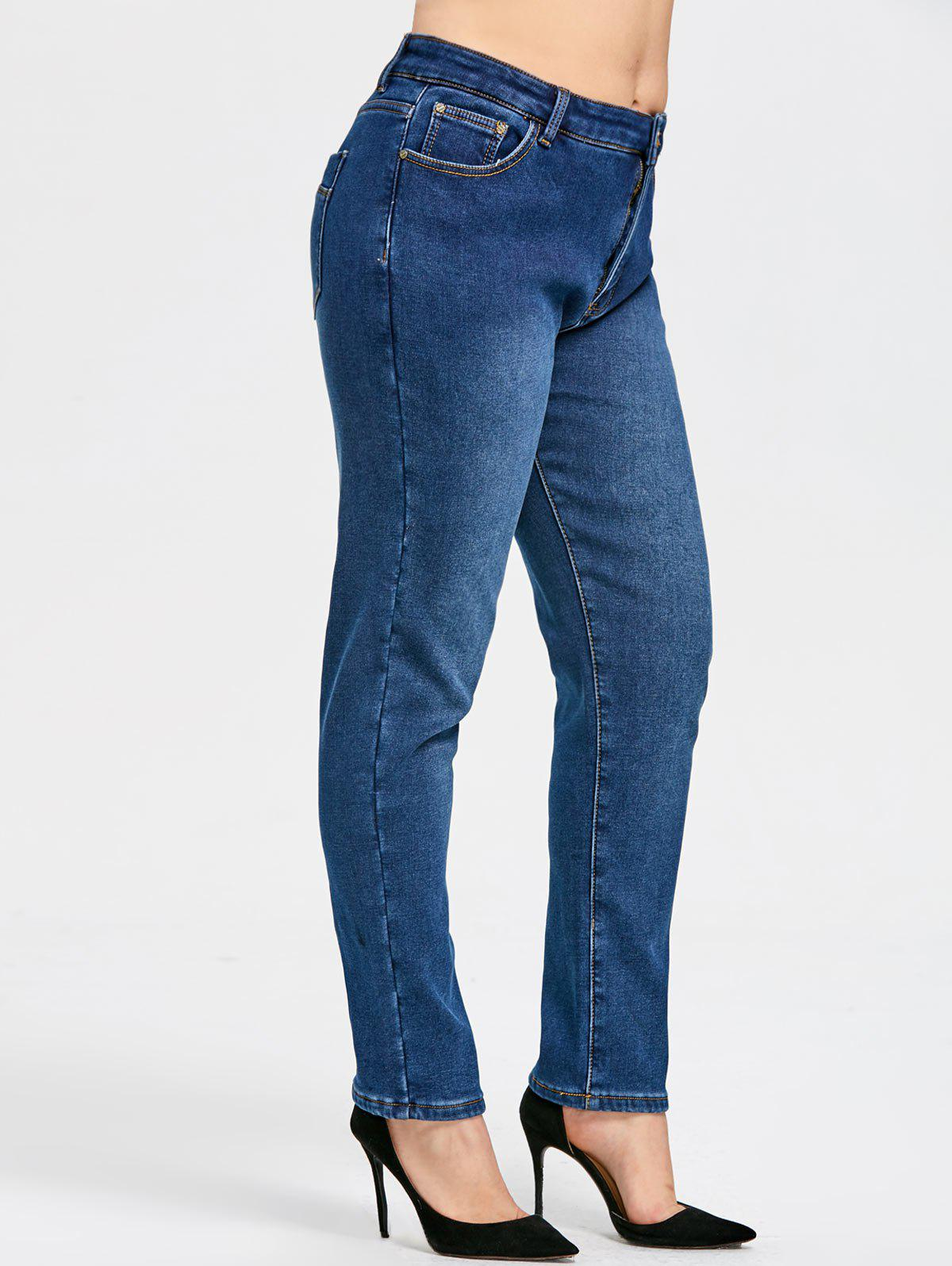 Sale Plus Size Fleece Lined Jeans with Pockets