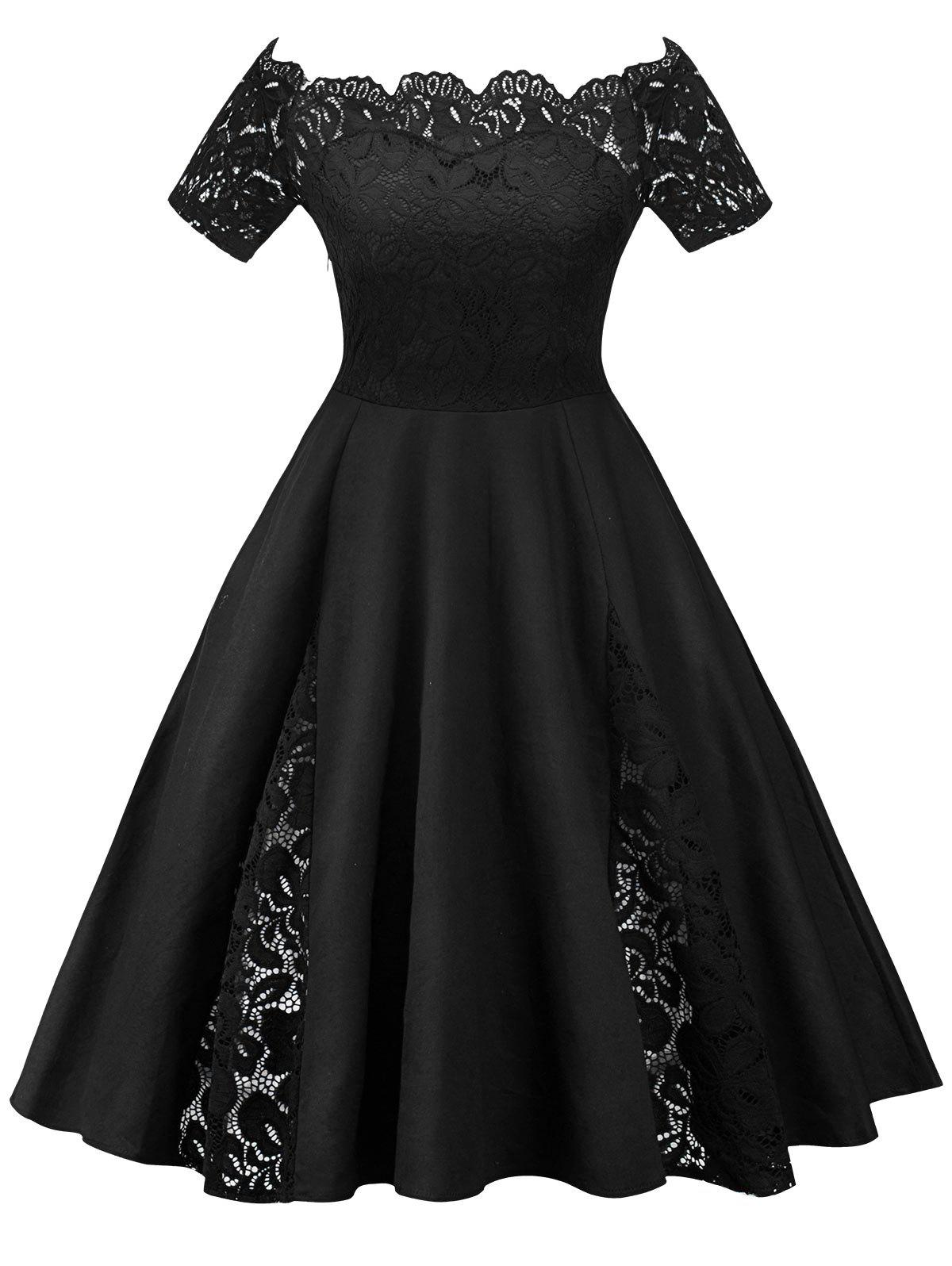 Store Lace Panel Off The Shoulder Plus Size Dress