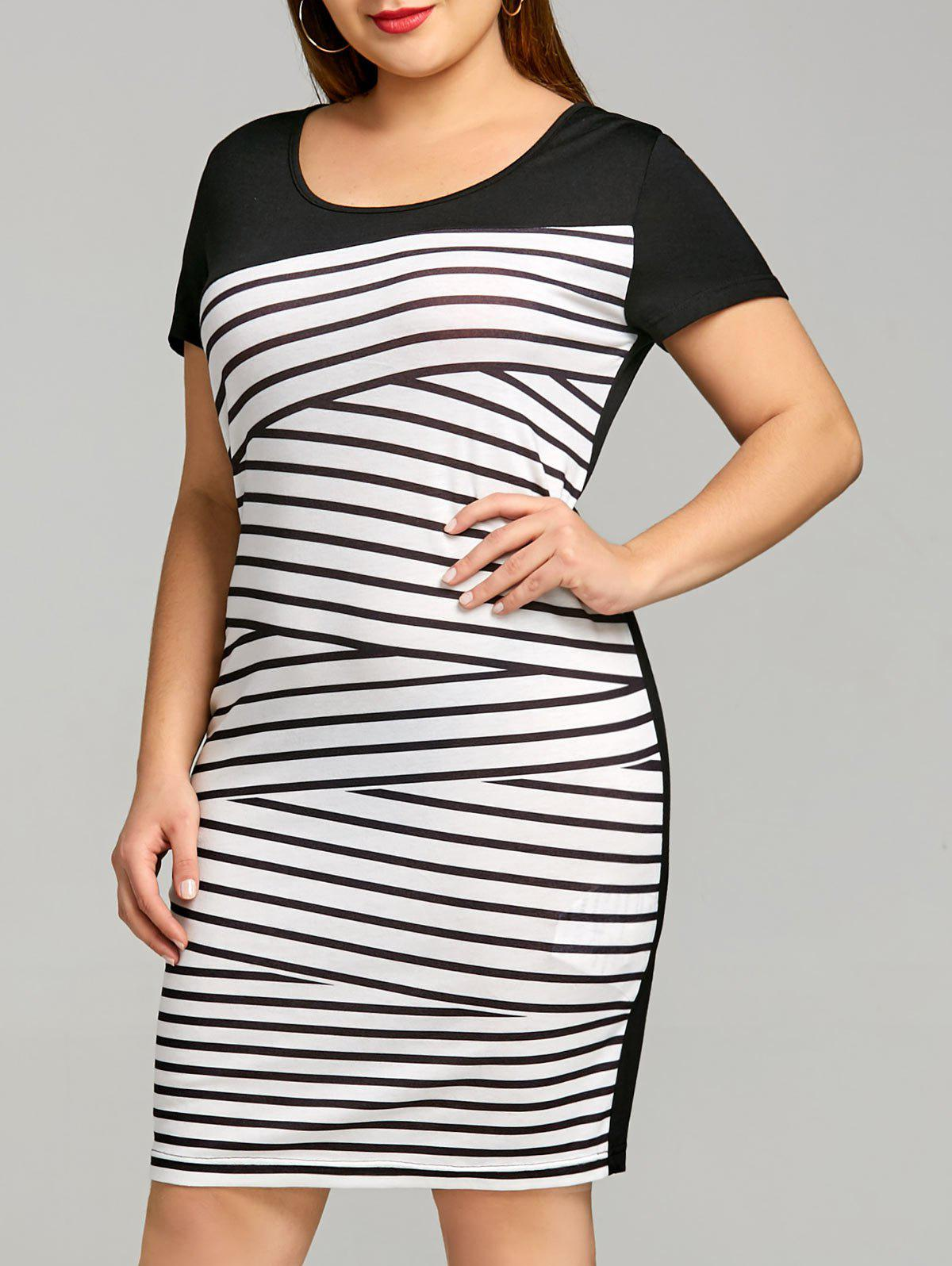 Latest Short Sleeve Plus Size Stripe Tee Dress