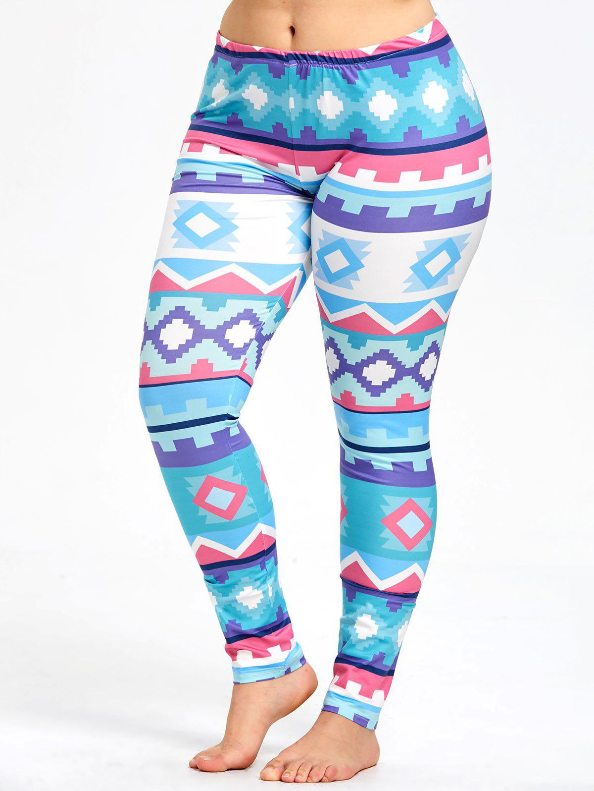 Outfit Fresh Plus Size Geometric Pattern Sports Leggings
