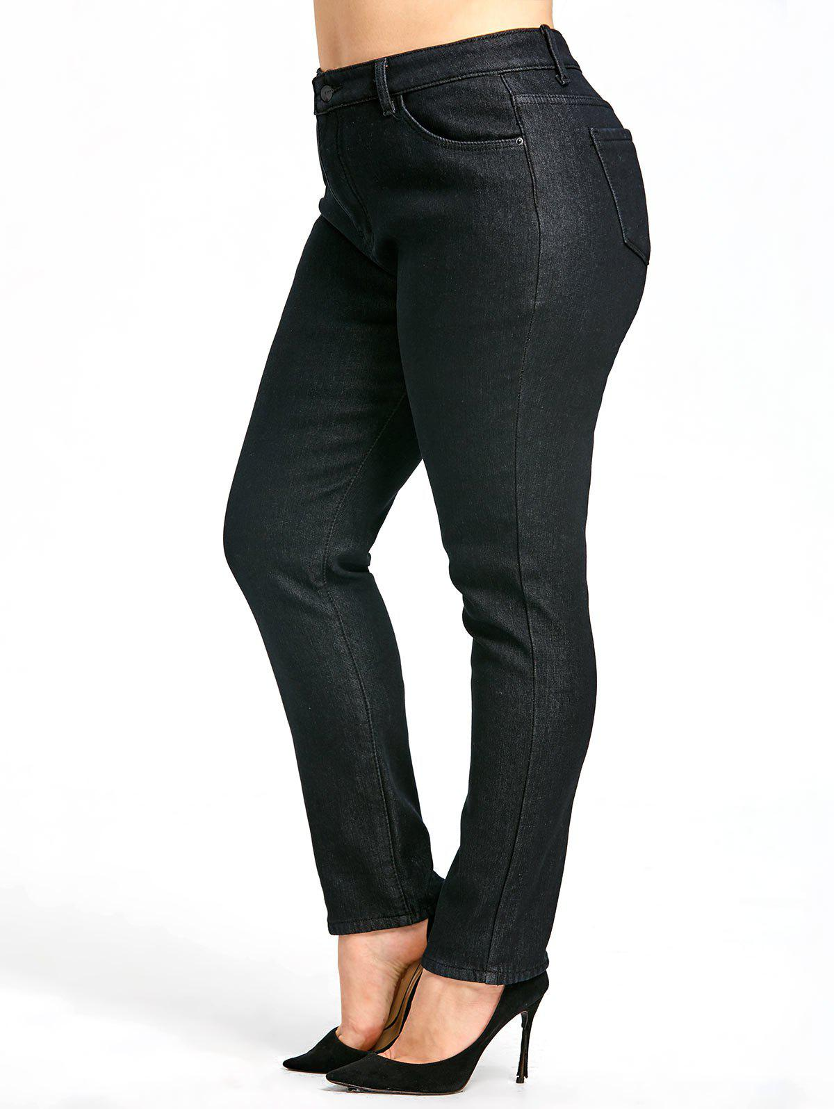 Chic Zipper Plus Size  Fleece Lined Jeans