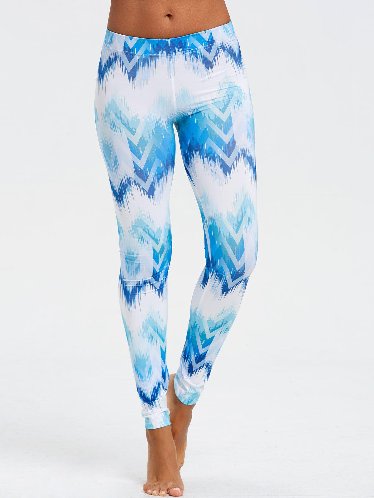 Discount Ombre Print Geometric Chevron Leggings