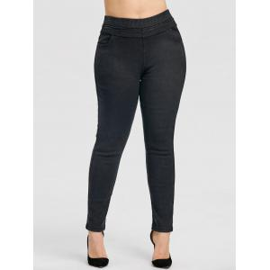 Elastic Waist Plus Size  Fleece Lined Jeans -