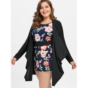 Faux Twinset Plus Size Floral Dress with Sleeves -