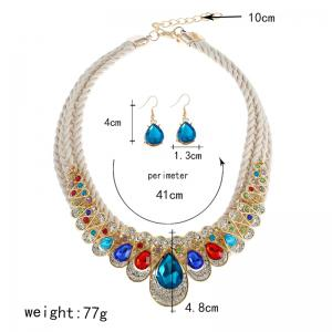 Unique Rhinestone Inlay Embellished Faux Gem Necklace Earrings Set -