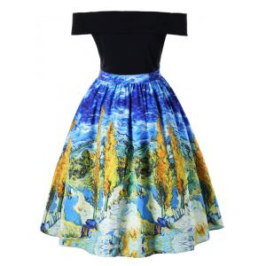Plus Size Oil Painting Retro Swing Dress -