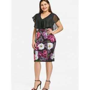 Plus Size Flounce Floral Print Bodycon Dress -