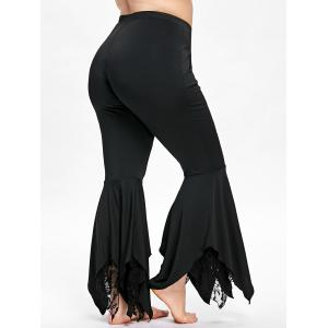 Plus Size Handkerchief Bottom Flare Pants -