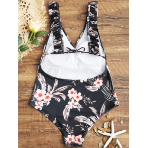 Floral Ruffles V Neck One Piece Swimsuit -
