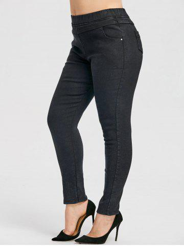 Fancy Elastic Waist Plus Size  Fleece Lined Jeans