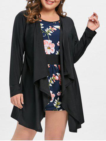 Outfits Faux Twinset Plus Size Floral Dress with Sleeves