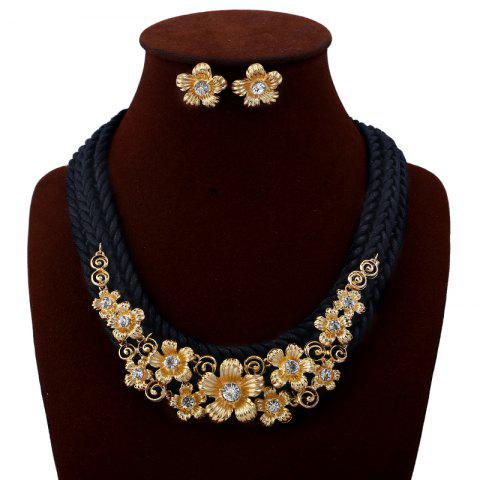 Discount Rhinestone Floral Embellished Rope Necklace Earrings Set