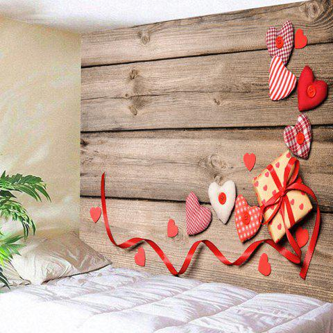 Cheap Valentine's Day Hearts Gift Wood Grain Wall Tapestry