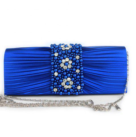 Trendy Pleated Rhinestone Beading Evening Bag