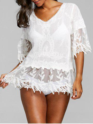 Hot Crochet Trim V Neck Flare Sleeve Cover Up