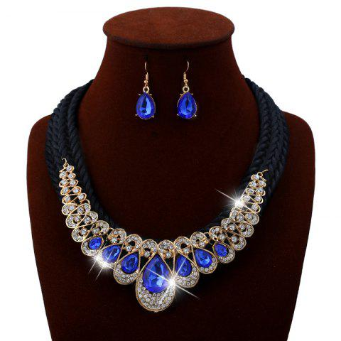 Hot Unique Rhinestone Inlay Embellished Faux Gem Necklace Earrings Set