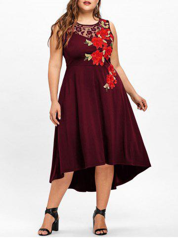 Plus Size Embroidery Floral High Low Dress