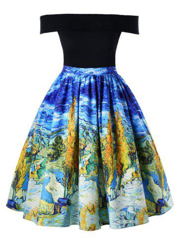 Trendy Plus Size Oil Painting Retro Swing Dress