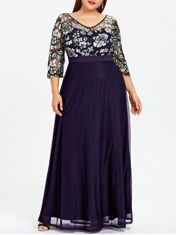 Purple 3xl Plus Size Floral Sequined Maxi Prom Dress Rosegal