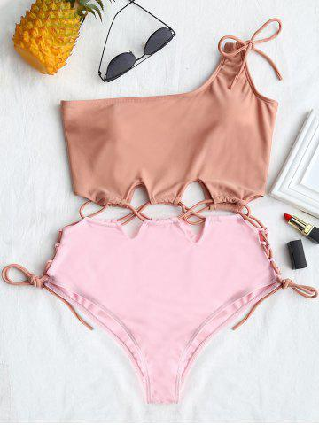 Shop Lace-up Two Tone One Shoulder Swimsuit