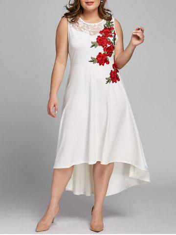 Shop Plus Size Embroidery Floral High Low Dress
