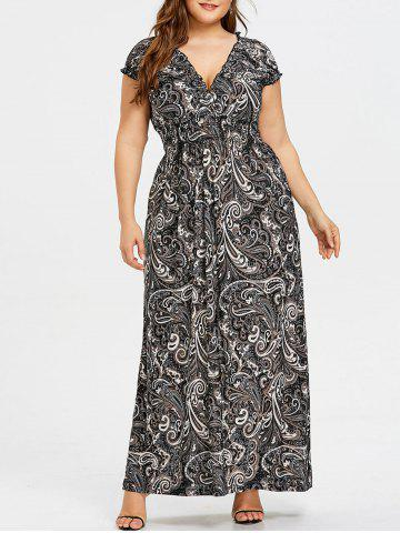 Trendy Plunging Smocked Plus Size Maxi Dress