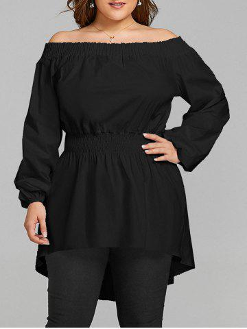 Outfit Plus Size Long Off The Shoulder High Low Blouse