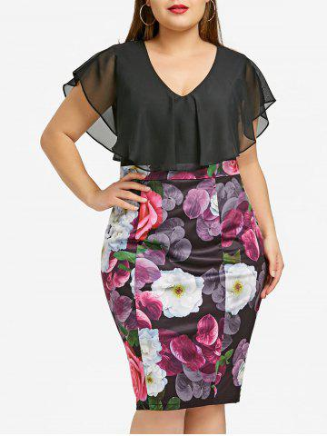 Cheap Plus Size Flounce Floral Print Bodycon Dress
