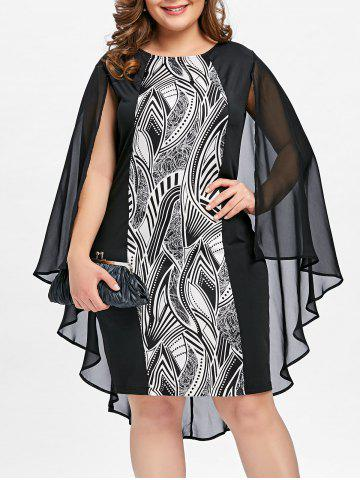 Outfits Plus Size Print Sheath Cape Dress